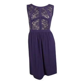 R&M Richards Women's Glitter Lace Panel Dress - Plum/Taupe - 14W