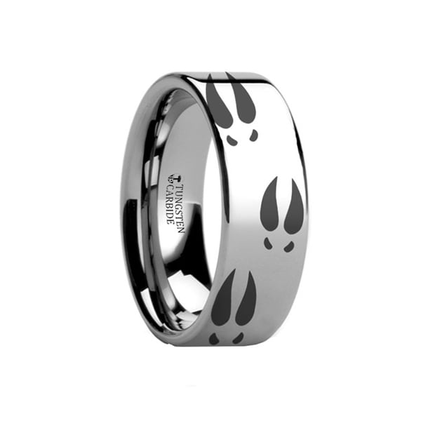 THORSTEN - Deer Print Animal Track Ring Engraved Flat Tungsten Ring - 12mm