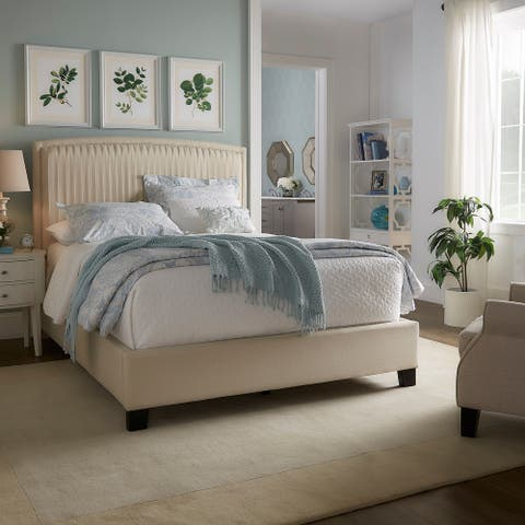 Adel Pleated Linen Queen Bed by iNSPIRE Q Modern