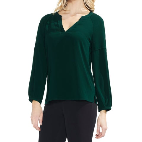 Vince Camuto Green Womens Small S Split Neck Bubble Sleeve Blouse