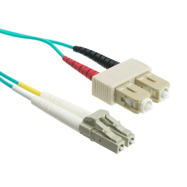 Offex 10 Gigabit Aqua Fiber Optic Cable, LC / SC, Multimode, Duplex, 50/125, 20 meter (65.6 foot)