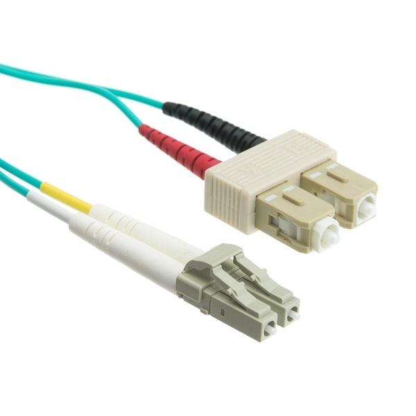 Offex 10 Gigabit Aqua Fiber Optic Cable, LC / SC, Multimode, Duplex, 50/125, 4 meter (13.1 foot)
