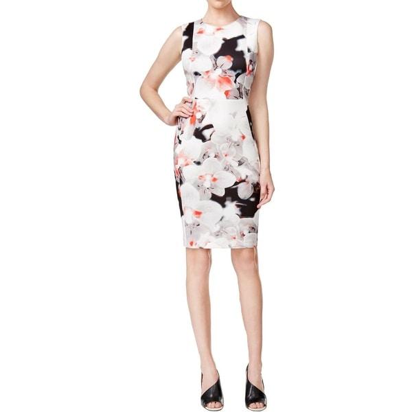 Calvin Klein Womens Casual Dress Floral Print Sleeveless