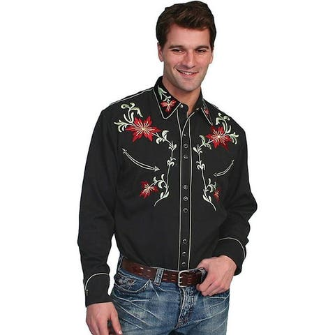 Scully Western Shirt Men L/S Snap Embroidered Floral Tooled