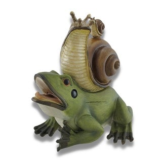 Frog with Snail Hitchhikers Statue - Green