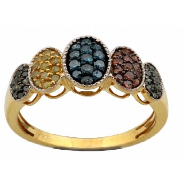 Prism Jewel 0.54Ct Round Brilliant Cut Multi Color Diamond Fancy Ring