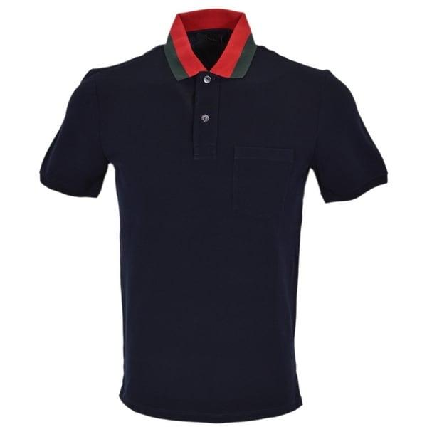 f5354e372 Gucci Men's 389031 Blue Cotton Red Green Collar SLIM FIT Polo Shirt