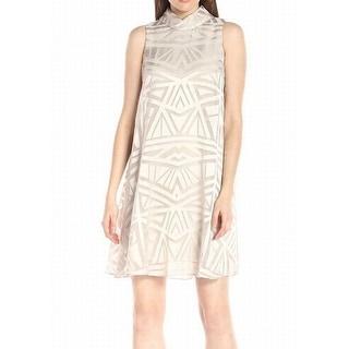 Vince Camuto NEW Beige Women's Size 8 Shift Overlay Mock Neck Dress