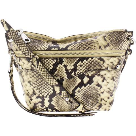 Rebecca Minkoff Womens Hayden Crossbody Handbag Leather Embossed - Butter - Small