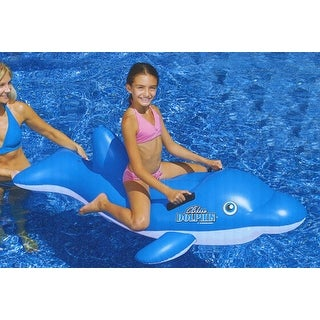 "61"" Water Sports Inflatable Ride-On Blue Dolphin Swimming Pool Float"