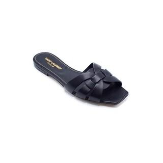 Saint Laurent Womens Black Leather Nu Pieds Slippers