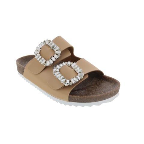 Ventutto Beige Crystal Embellished Comfort Sandals-