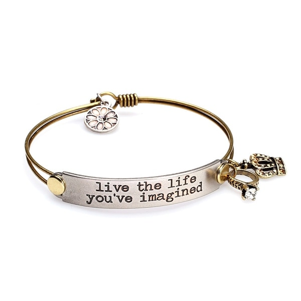 Women's Inspirational Message Brass Bracelet with Charms - Live The Life