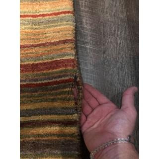 "Handmade Wool Transitional Stripe Lori Toni Rug - 2'6"" x 10'"
