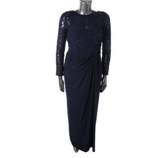 Lauren Ralph Lauren Womens Lace-Trim Gathered Evening Dress - 6