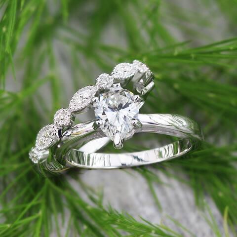 Auriya 14k Gold 3/4ctw Vintage Pear Shape Solitaire Diamond Engagement Ring Set