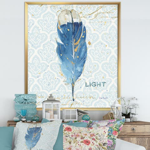 Designart 'Blue Damask Feather' Farmhouse Framed Art Print
