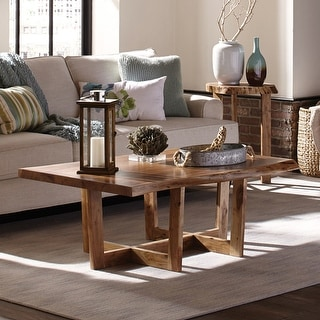 Berkshire Natural Live Edge Solid Wood Rectangle Large Coffee Table