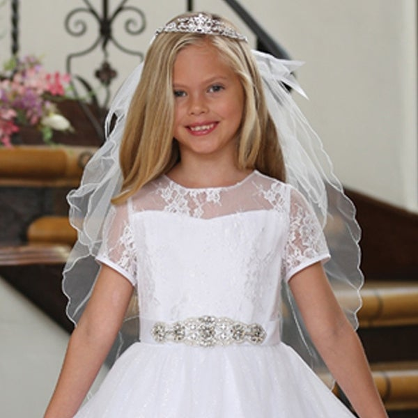 Angels Garment Girls White Tiara Double Layer Communion Flower Girl Veil