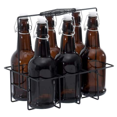 Circleware IBrew 7-Piece Re-Usable Bottle Set with Caddy, Brown, 16.9 Ounces