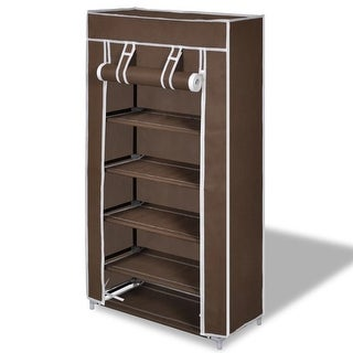 "vidaXL Fabric Shoe Cabinet with Cover 23"" x 11"" 42"" Brown"