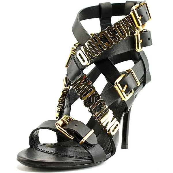 94e3e54a3ef Moschino Logo Plaque Strappy Sandals Women Open Toe Leather Black Sandals
