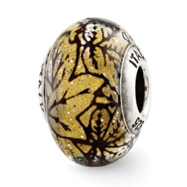 Italian Sterling Silver Reflections Yellow w/Black Lines Glass Bead (4mm Diameter Hole)
