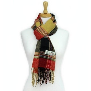 Plaid Cashmere Feel Classic Soft Luxurious Scarf For Men and Women - Red/Black