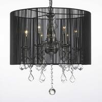 Crystal Chandelier Lighting With Large Black Shade H19 5 x W18.5