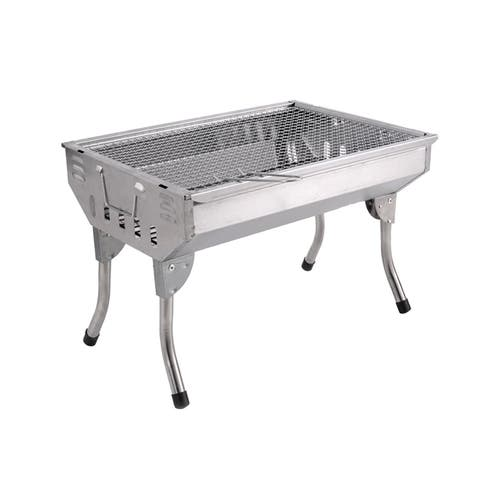 The Your Choice Portable Folding Charcoal Stainless-steel BBQ Grill for Camping, Grilling, Tailgating. 18 Inch Grate - 18 Inch