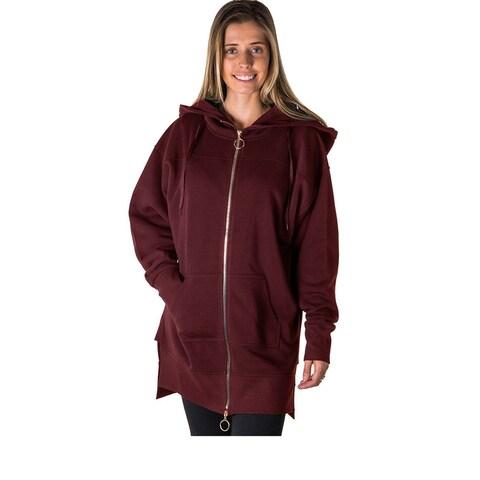 Ladies Fashion Solid Black-Ladies Fleece Zip Up Sweatshirt Oversize Long Hoodie Outerwear Jacket - Size - L