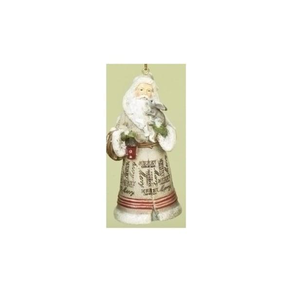 "3.5"" Woodland Inspirations Tan Merry Christmas Santa Claus Christmas Ornament - RED"