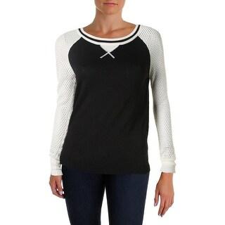 Ultra Flirt Womens Colorblock Raglan Sleeves Pullover Sweater