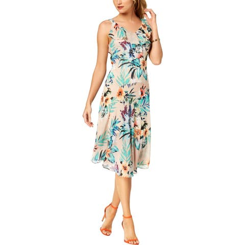 Signature By Robbie Bee Womens Petites Casual Dress Sleeveless Floral