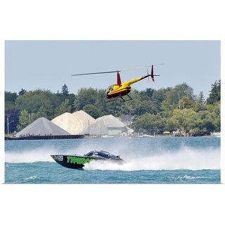 """""""Helicopter hovering over boat race"""" Poster Print"""