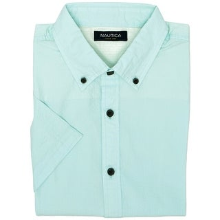 Nautica NEW Green Mens Medium M Slim Fit Textured Button Down Shirt