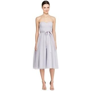 Aidan Mattox Strapless Shimmer Tulle Midi Bridesmaids Cocktail Dress