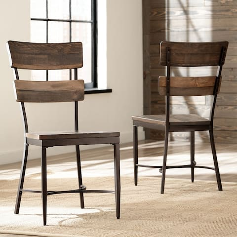 """Carbon Loft Roxie Brown Metal and Wood Dining Chair (Set of 2) - 18.75""""W x 19.5""""L x 38.5""""H"""
