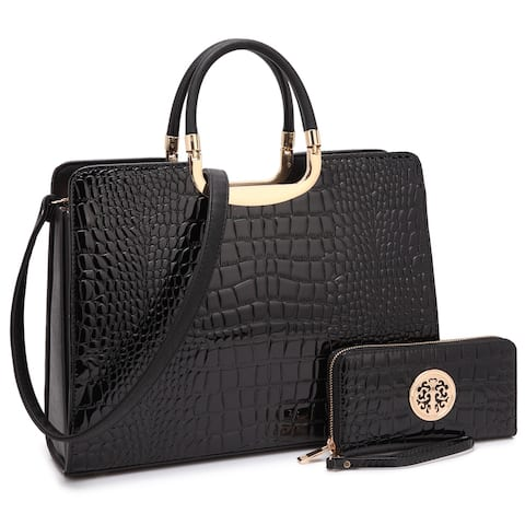 Dasein Patent Leather Croco Embossed Briefcase with Matching Wallet