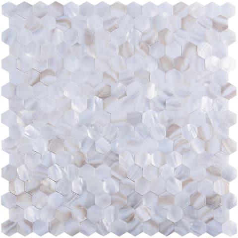 "Art3d 12""x12"" Mother of Pearl Tile Hexagon White Seamless"