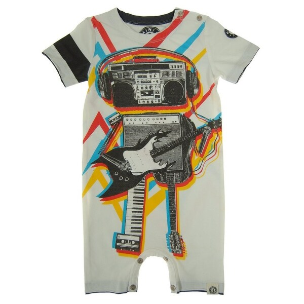 Mini Shatsu Baby Boys White Music Robot Print Short Sleeve Romper