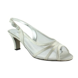 David Tate Womens Petal-040 Silver Peep Toe Sandals Size 7