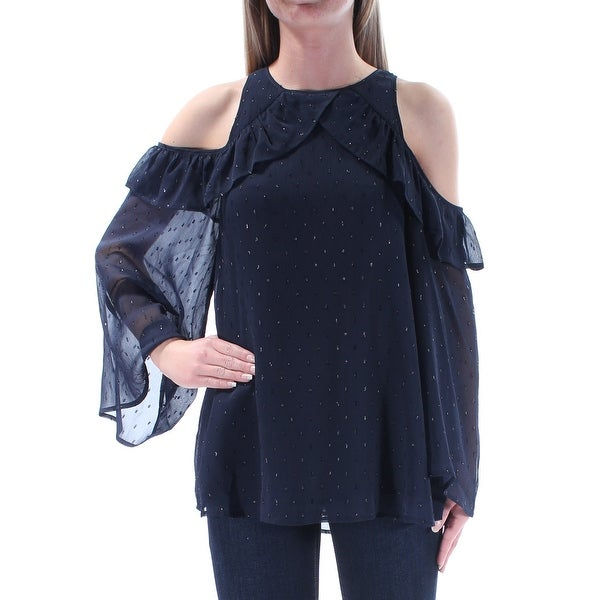 d88970a69c3 CATHERINE MALANDRINO  188 Womens New 1375 Navy Ruffled Embellished Top XS  B+B - Free Shipping Today - Overstock.com - 27433474