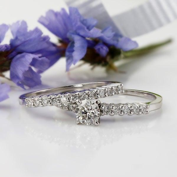 Auriya 14k Gold 1/2ctw Round Diamond Engagement Ring Set. Opens flyout.