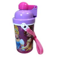 Disney Princess Cinderella Auora Belle Canteen w/ Popup Lid & Straps Water Bottle Tumbler Cup