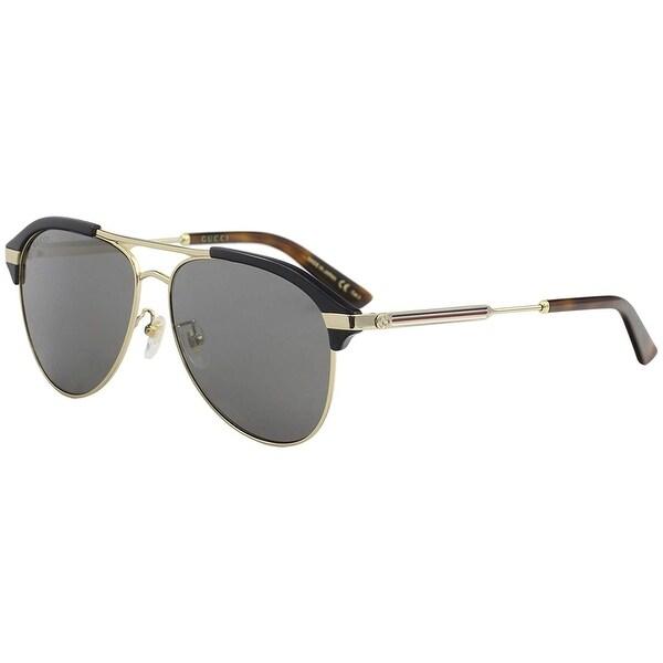 ec02b3330e Gucci Grey-Silver Aviator Sunglasses Gg0288Sa-005 60 - BLUE-GOLD-SILVER