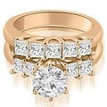 1.75 cttw. 14K Rose Gold Princess and Round Cut Diamond Engagement Bridal Set - Thumbnail 0