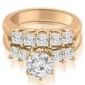 1.75 cttw. 14K Rose Gold Princess and Round Cut Diamond Engagement Bridal Set - Thumbnail 0
