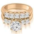 2.00 cttw. 14K Rose Gold Princess and Round Cut Diamond Engagement Bridal Set - Thumbnail 0
