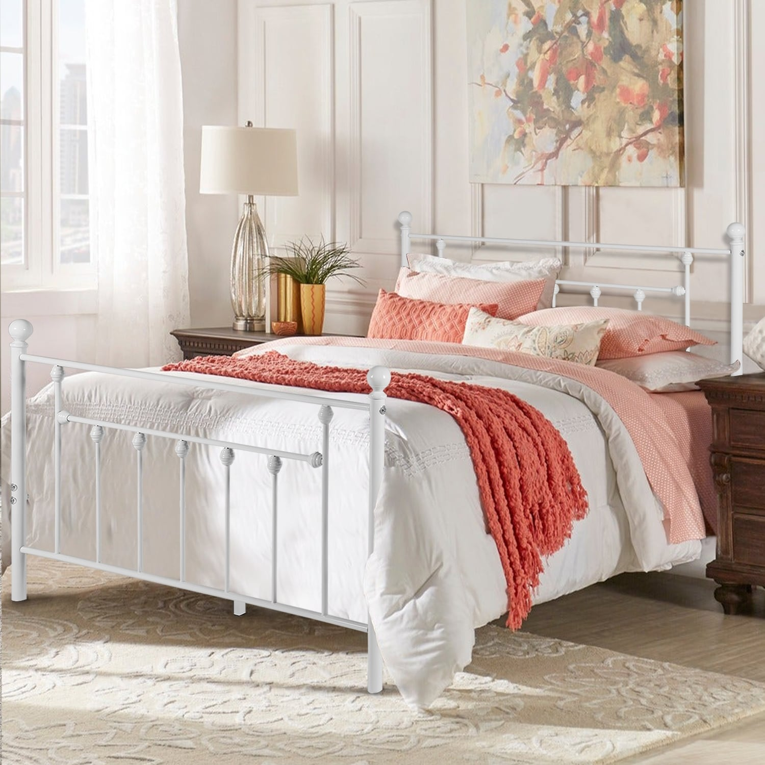 Vecelo Vintage Line Metal Bed Frame White Twin Full Queen Size 3 Opotion Overstock 29875431